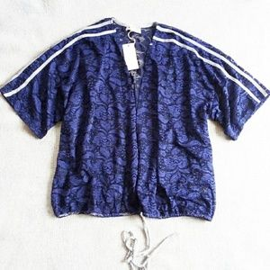 H.I.P. sz 2x navy lace top Nordstrom new jacket